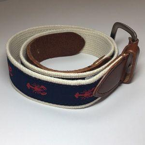 🦞J. Crew Lobster Leather & Cotton Belt UNISEX🦞